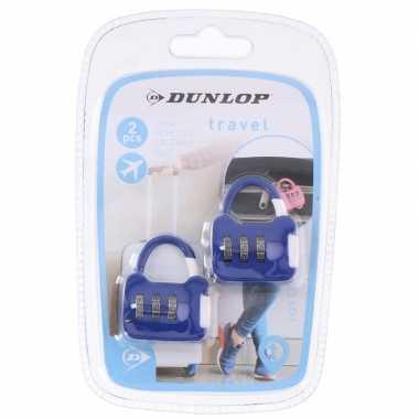 Goedkope 2x blauwe weekendtassen bagagesloten cijferslot