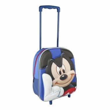 Goedkope blauwe 3d mickey mouse weekendtas/trolley jongens 31