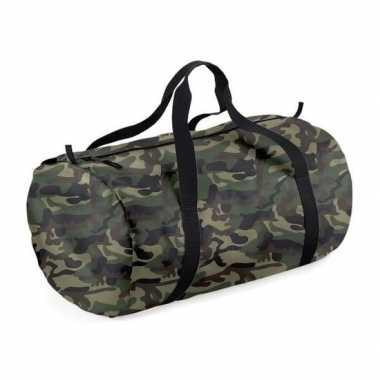 Goedkope camouflage groene ronde polyester weekendtas/weekendtas 32 l