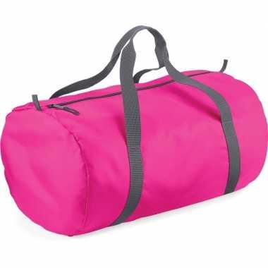 Goedkope fuchsia roze ronde polyester weekendtas/weekendtas 32 liter