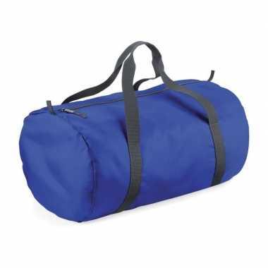 Goedkope kobalt blauwe ronde polyester weekendtas/weekendtas 32 liter