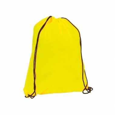 Goedkope neon geel gymtas/weekendtas rijgkoord 34 42