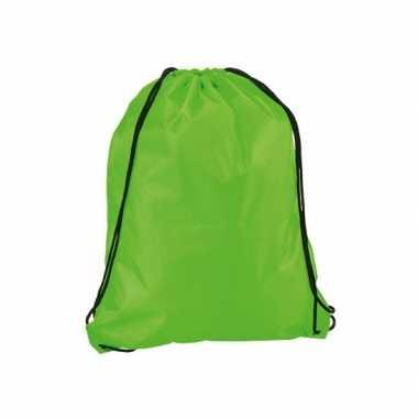 Goedkope neon groen gymtas/weekendtas rijgkoord 34 42