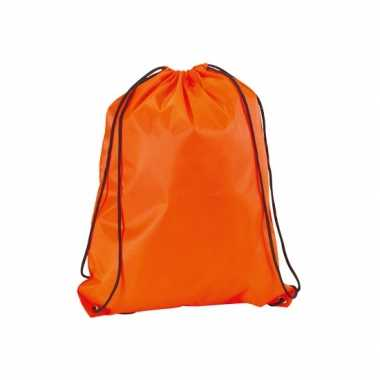 Goedkope neon oranje gymtas/weekendtas rijgkoord 34 42
