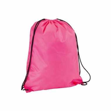 Goedkope neon roze gymtas/weekendtas rijgkoord 34 42