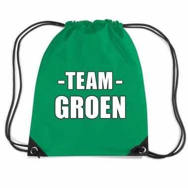 Goedkope sportdag team groen rugtas/ weekendtas